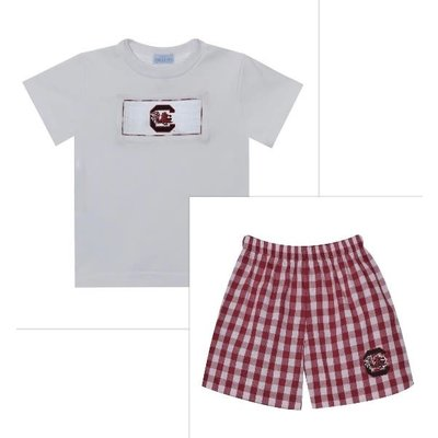 Vive La Fete South Carolina Smocked Maroon Big Check Boy Short Set