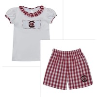 Vive La Fete South Carolina Smocked Maroon Big Check Girl Short Set