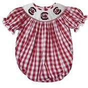 Vive La Fete South Carolina Smocked Maroon Big Check Girl Bubble
