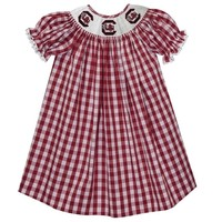 Vive La Fete South Carolina Smocked Maroon Big Check Bishop