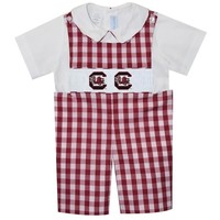 Vive La Fete South Carolina Smocked Maroon Big Check Shortall w/Shirt