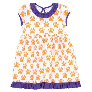 Magnolia Baby Orange Pawprint S/S Dress