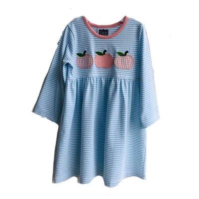 True Knit Stripe Pumpkin Applique Dress