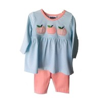 True Knit Stripe Pumpkin Applique Girls Pant Set