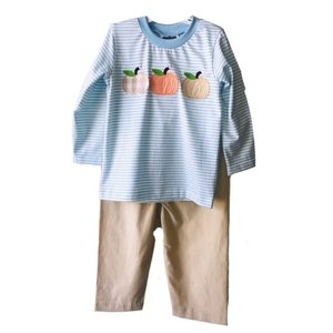 True Knit Stripe Pumpkin Applique Boys Pant Set