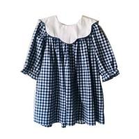 True Navy/White Scallop Collar Dress
