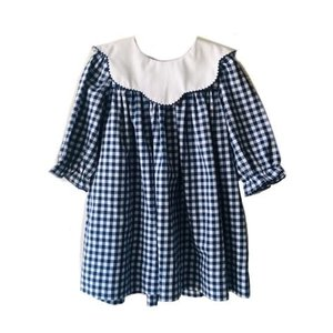 True Navy/White Scallop Collar Dress