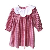 True Red/White Scallop Collar Dress