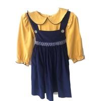 True Navy Cord/Mustard Dot Geometric Dress