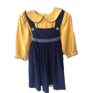 True Navy Cord/Mustard Dot Geometric Dress
