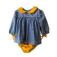 Sage & Lilly Navy Check Bow Sleeve Bloomer Set