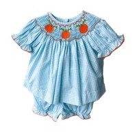 Honesty Clothing Company Pumpkin Smocked Bloomer Set