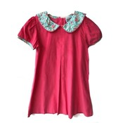Honesty Clothing Company Coral Floral Collar Pleated Dress