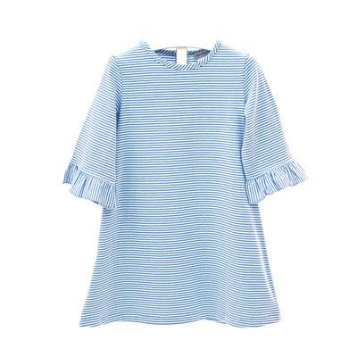 Ishtex Textile Products, Inc Blue/White Stripe Aline Dress