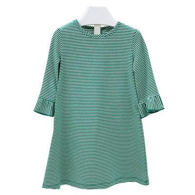 Ishtex Textile Products, Inc Green/White Stripe Aline Dress