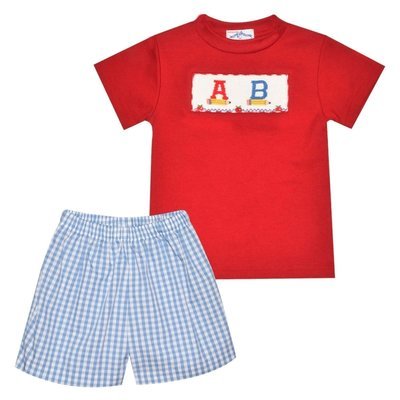 Silly Goose Back To School Smocked ABC Boy Short Set