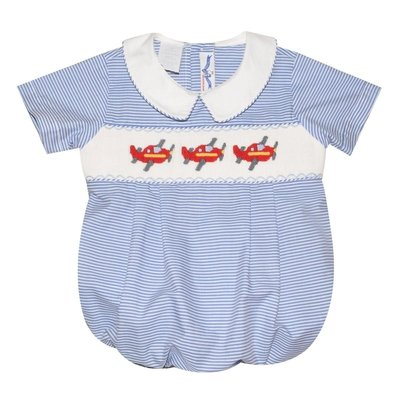 Silly Goose Airplane Smocked Blue/White Stripe Bubble