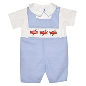 Silly Goose Airplane Smocked Blue/White Stripe Shortall w/Shirt