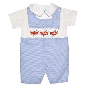 Silly Goose Airplane Smocked Blue/White Stripe Shortall w/Shirt