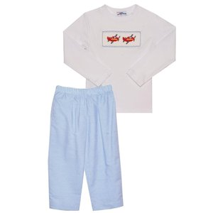 Silly Goose Airplane Smocked Blue/White Stripe Pant Set