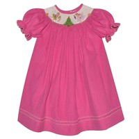 Vive La Fete Nutcracker Smocked Hot Pink Corduroy Bishop