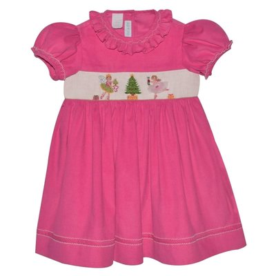 Vive La Fete Nutcracker Smocked Hot Pink Corduroy Dress