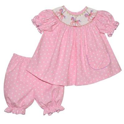 Vive La Fete Carousel Smocked Pink Polka Dot Bishop Panty Set