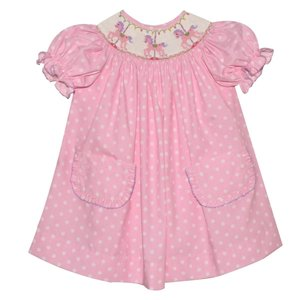 Vive La Fete Carousel Smocked Pink Polka Dot Bishop