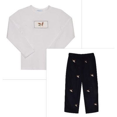 Monday's Child Mallard Ducks Embroidered Navy Cord Pant Set