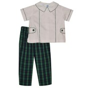 Monday's Child Green and Navy Plaid Boy's Pant Set