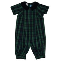 Monday's Child Green and Navy Plaid Boy's Long Bubble