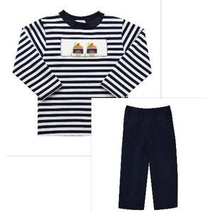 Vive La Fete Pumpkin Smocked Navy Stripe Pant Set