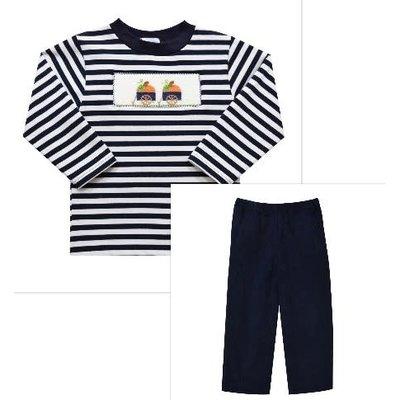 Vive La Fete Pumpkin Smocked Navy Stripe Pant Set