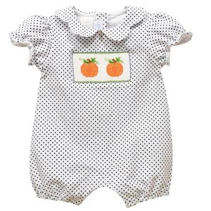 Vive La Fete Pumpkin Smocked Polka Dot Bubble