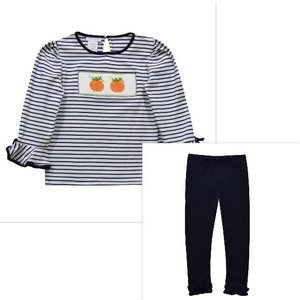 Vive La Fete Pumpkin Smocked Navy Stripe Girl's Pant Set