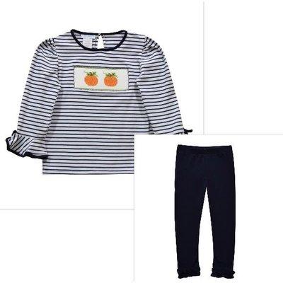 Vive La Fete Pumpkin Smocked Navy Stripe Girl's Pant Set