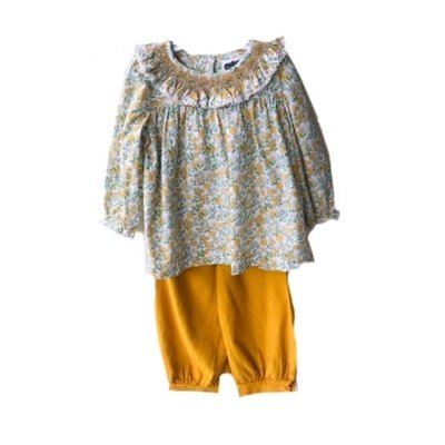 True Mustard Floral Geometric Pant Set