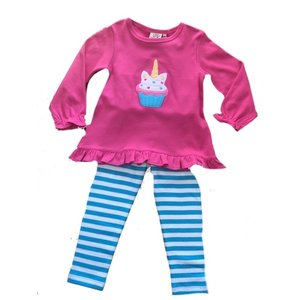 Luigi Pink and Blue Unicorn Cupcake Pant Set