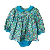 Sage & Lilly Mini Turquoise Floral Bow Sleeve Bloomer Set
