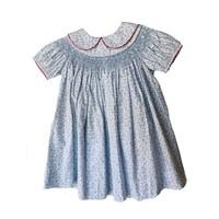True Blue Floral Geometric Peter Pan Dress