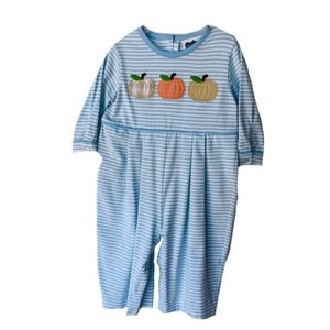 True Knit Stripe Pumpkin Applique Boys Bubble