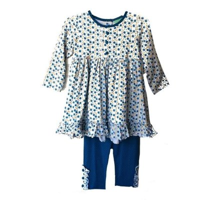 Sage & Lilly Mini Blue Floral Swing Top w/Leggings