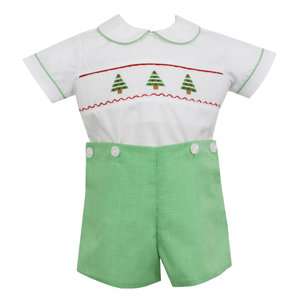 Petit Bebe Christmas Tree Smocked Button-on Short Set