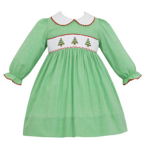 Petit Bebe Christmas Tree Smocked Dress