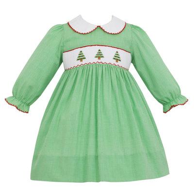 Petit Bebe Christmas Tree Smocked Dress