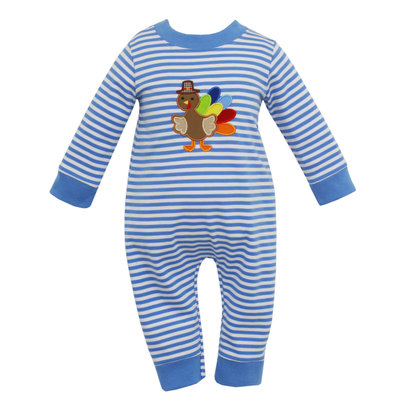 Claire & Charlie Turkey Applique Knit Long Romper