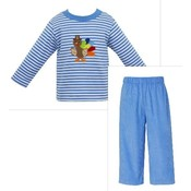 Claire & Charlie Turkey Applique Knit Pant Set