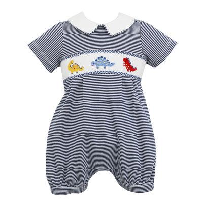 Petit Bebe Dinosaur Navy Stripe Knit Bubble