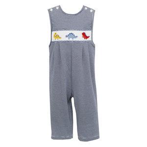 Petit Bebe Dinosaur Navy Stripe Knit Long Jon Jon