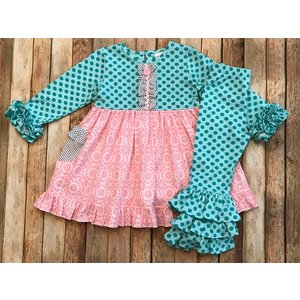Natalie Grant Pastel Ruffle Dress/Legging Set